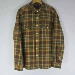 Vtg Polo Ralph Lauren Mens L Green Plaid LS Shirt